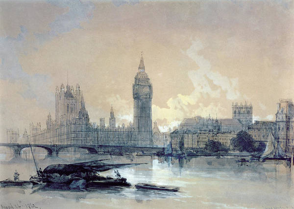 The Print featuring the painting The Houses Of Parliament by David Roberts