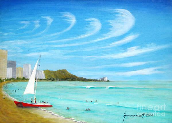 Waikiki Print featuring the painting Waikiki by Jerome Stumphauzer