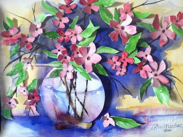 Orchards Print featuring the painting Apple Blossoms by Sherry Harradence
