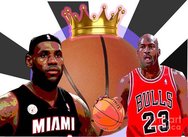 Michael Jordan Print featuring the digital art Bball Kings by Michael Chatman