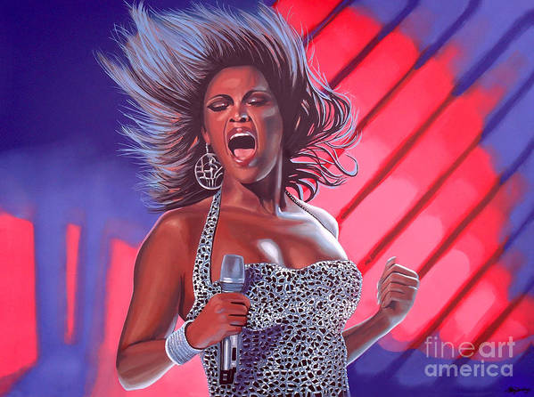 Beyonce Print featuring the painting Beyonce by Paul Meijering