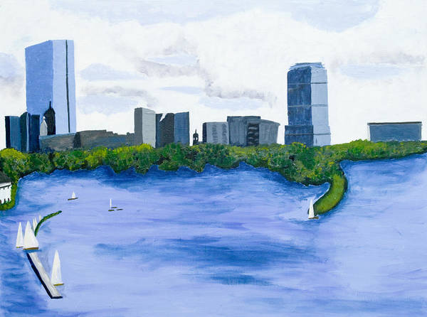 Landscape Print featuring the painting Boston Skyline by Carmela Cattuti