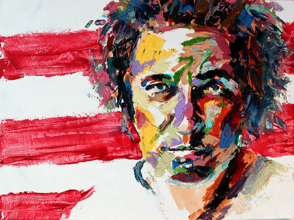 Bruce-springsteen Print featuring the painting Bruce Springsteen by Derek Russell