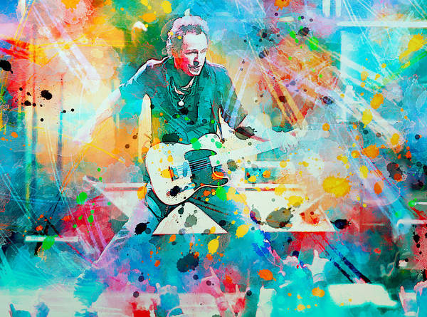 Bruce Print featuring the painting Bruce Springsteen by Rosalina Atanasova