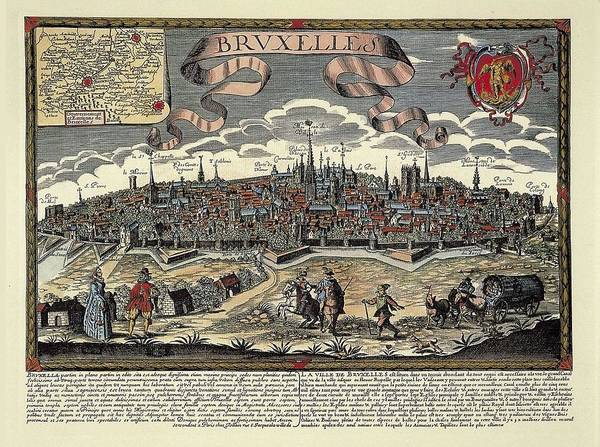 Colour Print featuring the photograph Brussels In 17th C. Engraving. � by Everett