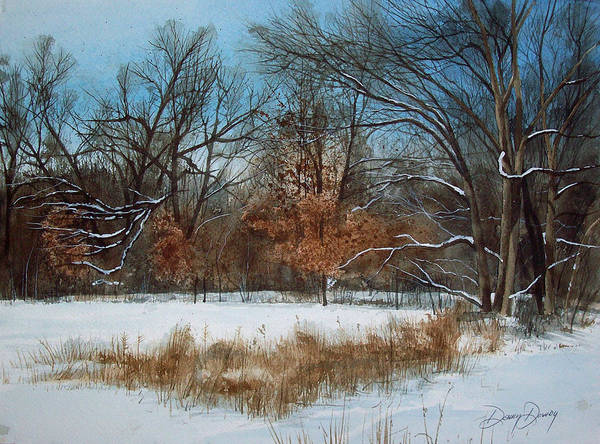 Landscape Print featuring the painting By Rattlesnake Creek by Denny Dowdy