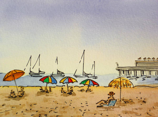 Sketchbook Print featuring the painting Capitola - California Sketchbook Project by Irina Sztukowski