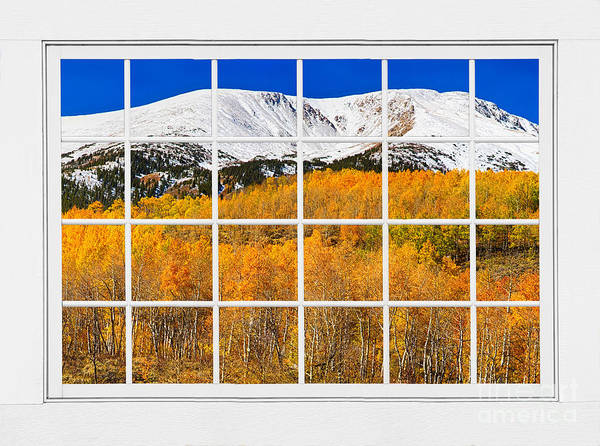 Window To Nature Print featuring the photograph Colorado Rocky Mountain Autumn Pass White Window View by James BO Insogna