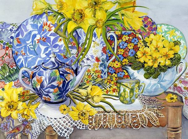 Daffodils; Daffodil; Antique; Antiques; Jug; Jugs; Antique Jug; Antique Jugs; Lace; Table Cloth; Table; Tea Pot; Tea Set; Afternoon Tea; Tea Cup; Tea Cups; Cup; Flower; Flowers; Yellow; Bright; Colorful; Bouquet; Embroidery Print featuring the painting Daffodils Antique Jugs Plates Textiles And Lace by Joan Thewsey
