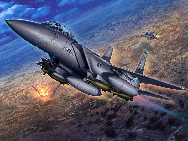 F-15 Print featuring the digital art F-15e Strike Eagle Scud Busting by Stu Shepherd