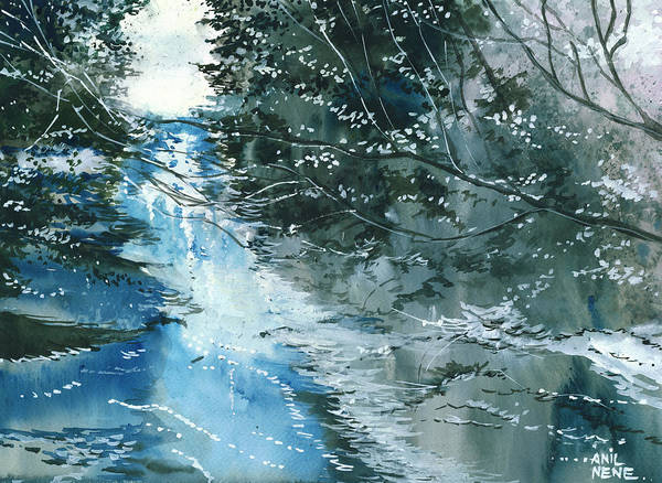 Nature Print featuring the painting Floods 3 by Anil Nene