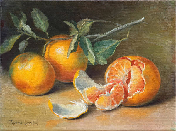 Tangerines Print featuring the painting Fresh Tangerine Slices by Theresa Shelton