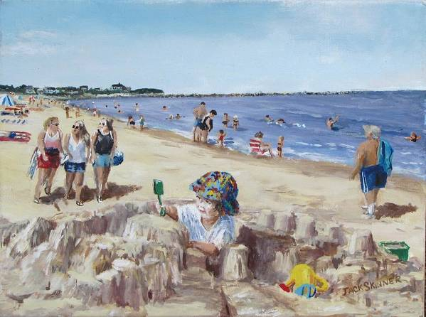 Beach Print featuring the painting From Sandcastles To College by Jack Skinner