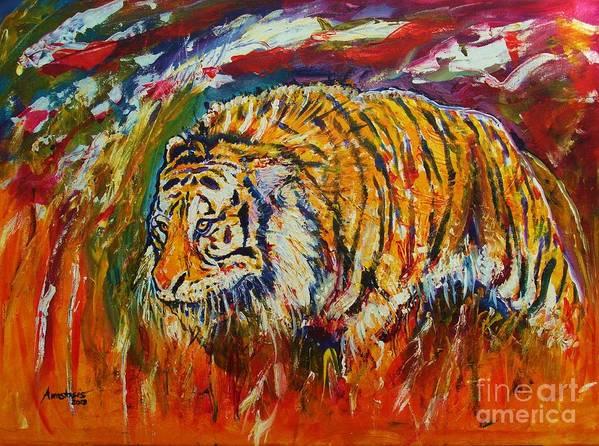 Tiger Print featuring the painting Go Get Them Tiger by Anastasis Anastasi