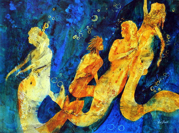 Mermaids Print featuring the painting He's Not One Of Us by Tom Poole
