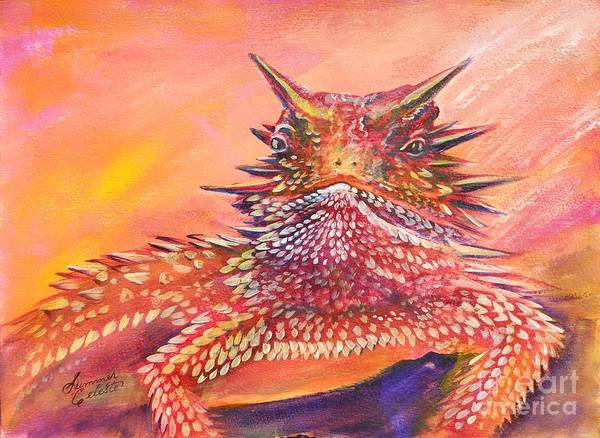 Horned Lizard Print featuring the painting Horny Toad by Summer Celeste