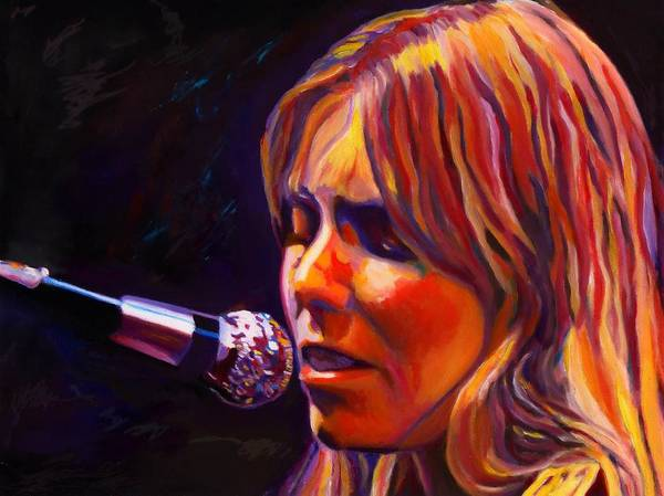 Singer-songwriter Print featuring the painting Joni Mitchell..legend by Vel Verrept