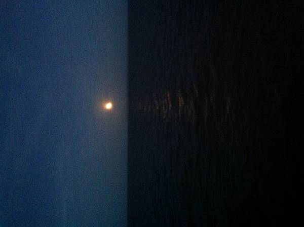 Spectacular Summer Moon Over Long Island Sound Traveling From Orient Point Print featuring the photograph June Moon by Debra Burgess