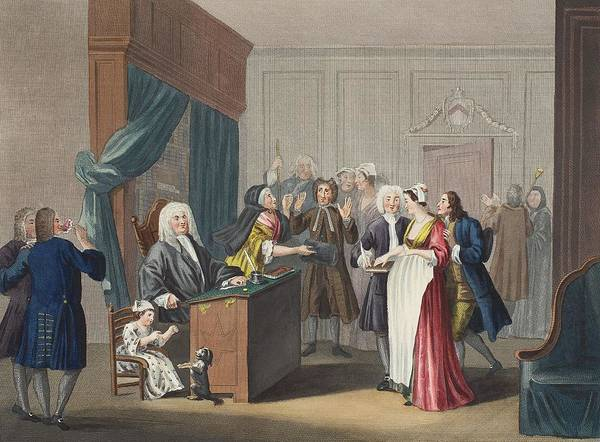 Courtroom Print featuring the drawing Justice Triumphs, Illustration by William Hogarth