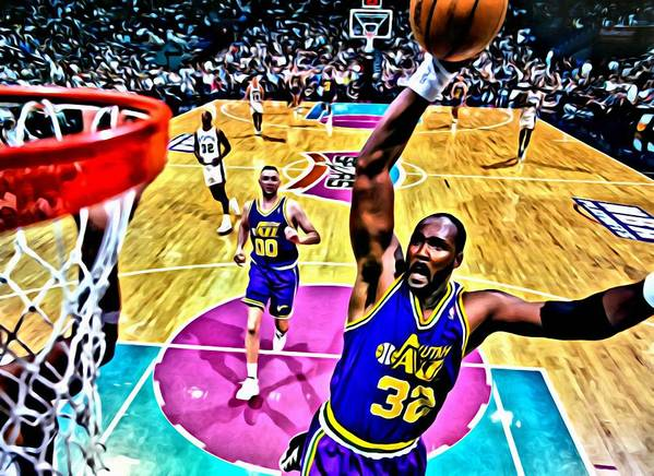 Nba Print featuring the painting Karl Malone by Florian Rodarte