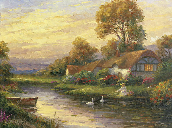 Woman Print featuring the painting Lakeside Cottage by Ghambaro