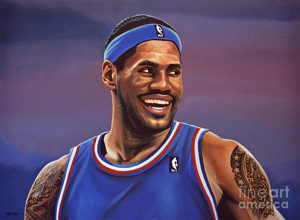 Lebron James Print featuring the painting Lebron James by Paul Meijering