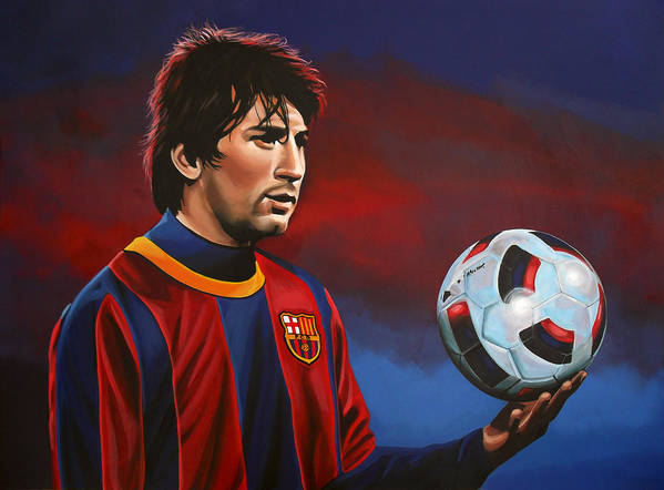 Lionel Messi Print featuring the painting Lionel Messi by Paul Meijering