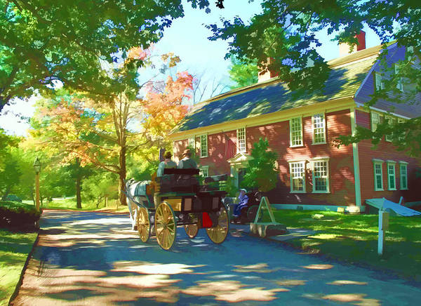 Landscape Print featuring the digital art Longfellows Wayside Inn by Barbara McDevitt