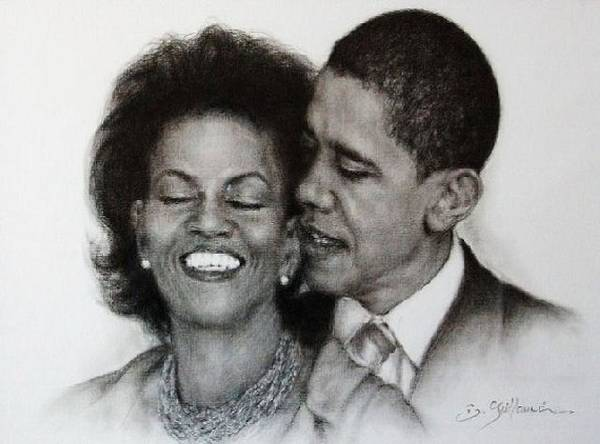 Michelle Et Barack Obama Print featuring the drawing Michelle Et Barack Obama by Guillaume Bruno