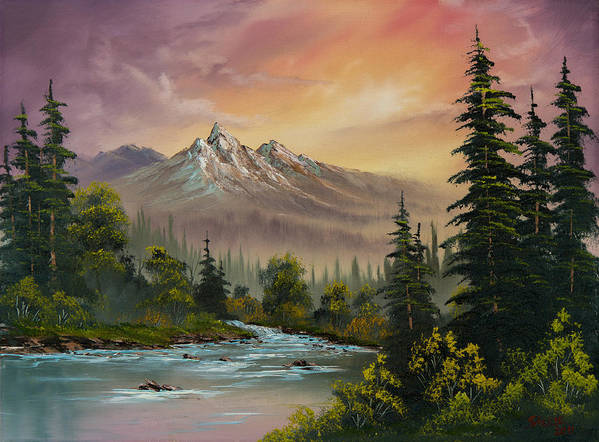 Landscape Print featuring the painting Mountain Sunset by C Steele