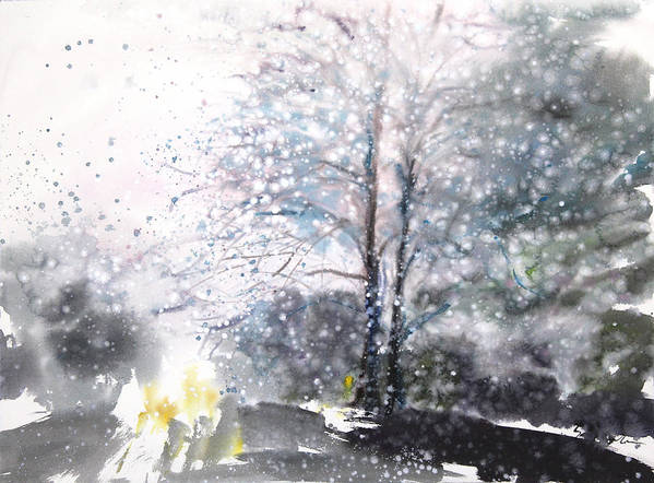 Woods Print featuring the painting New England Landscape No.222 by Sumiyo Toribe
