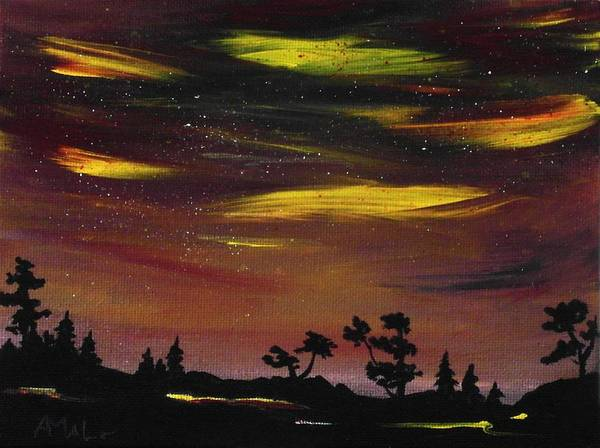 Calm Print featuring the painting Night Scene by Anastasiya Malakhova