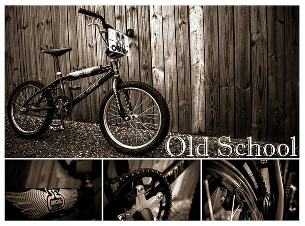 Bmx Print featuring the photograph Old School Bmx - Pk Collage Bw by Jamian Stayt