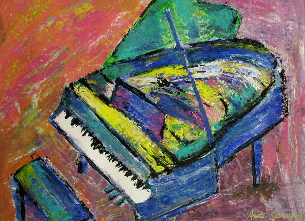 Piano Print featuring the painting Piano Blue by Anita Burgermeister