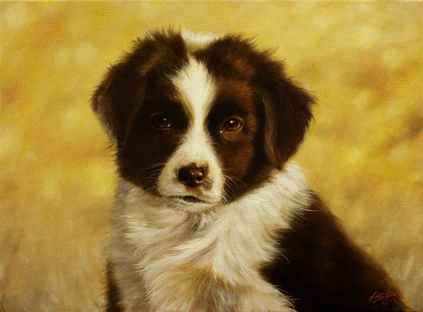 Dog Paintings Print featuring the painting Puppy Portrait by John Silver
