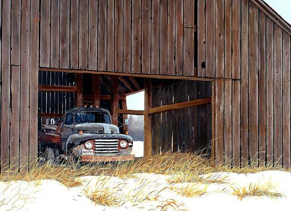 Retired Truck Print featuring the painting Retired by Michael Swanson