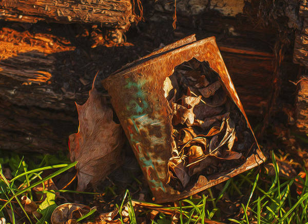 Landscape Print featuring the painting Rusted Can Of Leaves by Jack Zulli
