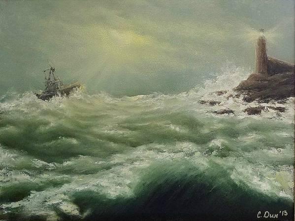 Landscape Print featuring the painting Saving Light by Svetla Dimitrova