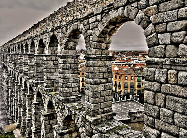 Europe Print featuring the photograph Segovia Aqueduct - Spain by Juergen Weiss