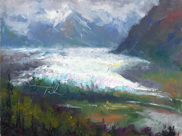 Alaska Print featuring the painting Shifting Light - Matanuska Glacier by Talya Johnson