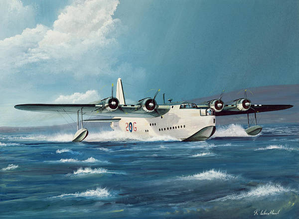 Plane Print featuring the painting Short Sunderland by Richard Wheatland