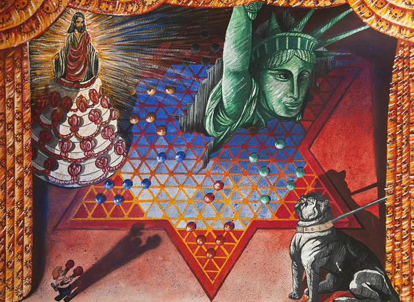 Surrealism Print featuring the painting Sideshow by Larry Butterworth