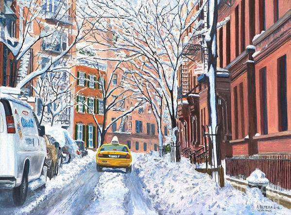 Snow Print featuring the painting Snow West Village New York City by Anthony Butera