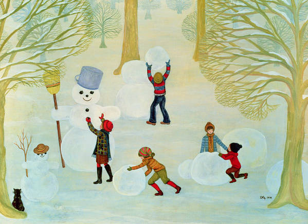Winter Print featuring the painting Snowmen by Ditz