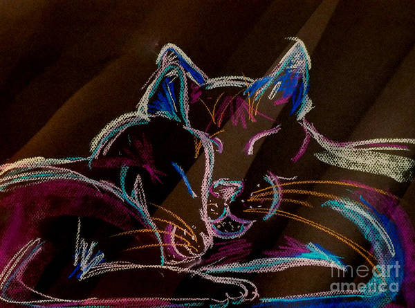 Cats Print featuring the drawing Sunbeam Cats by Michelle Wolff