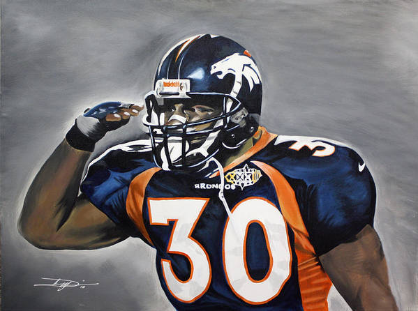 Td Print featuring the drawing Terrell Davis by Don Medina