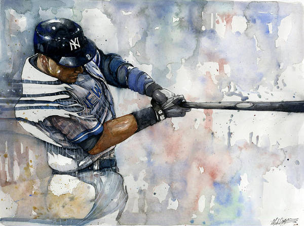 Derek Jeter Print featuring the painting The Captain Derek Jeter by Michael Pattison