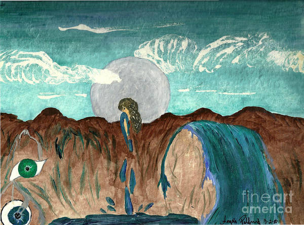 Full Moon Print featuring the painting Washed Clean by Angela Pelfrey