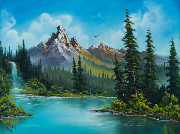 Landscape Print featuring the painting Wilderness Waterfall by C Steele