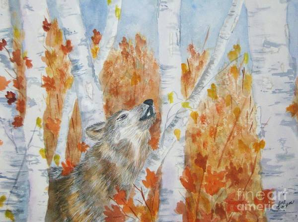 Wolf Print featuring the painting Wolf Call by Ellen Levinson
